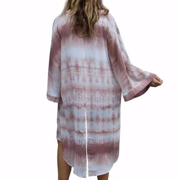 Women's White/Plum Tye Dye Design Chiffon Duster Kimono Cardigan Coverup