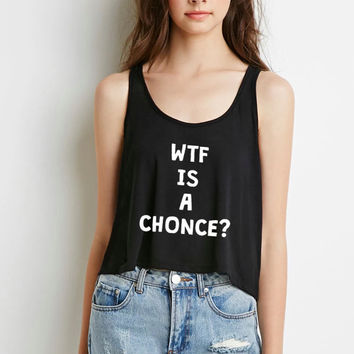 "One Direction ""WTF is a Chonce?!"" Boxy, Cropped Tank Top"