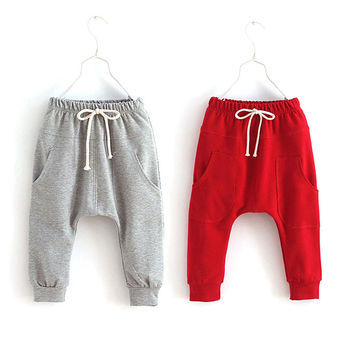 Toddler Child Jersey Harem Pants Casual Baby Boy Girl Bottoms Elastic Trousers 2-7Y
