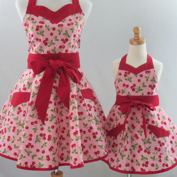 Mother and Daughter Retro Cherries Apron Set, Mommy & Me Aprons, Mommie and Me Pink Retro Aprons, Gift for Wife, Daughter, Granddaughter