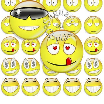 Yellow Emojis Face Emotions Art - Digital Collage Sheets - 1.5 inch Circles for Jewelry Makers, Party Favors, Crafts Projects