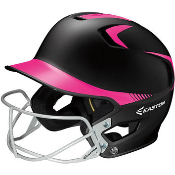 Easton Z5 Two-Tone Batting Helmet + Softball Facemask - Black Pink