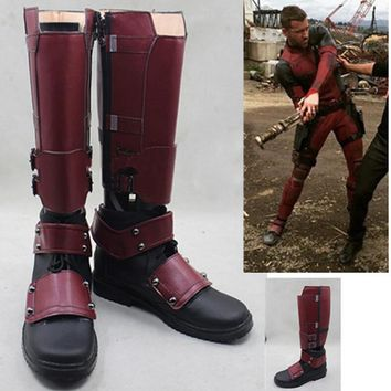Movie X-Men Deadpool Wade Wilson Boots Cosplay Shoes Red Boots Custom Made Shoe
