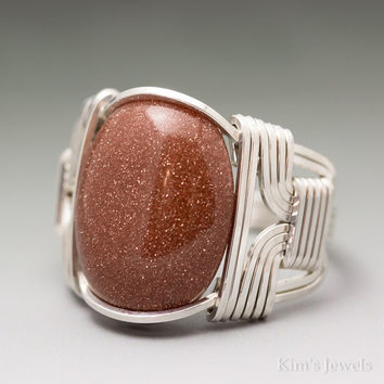 Goldstone Sterling Silver Wire Wrapped Cabochon Ring
