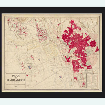 Old Map of Marrakesh Morocco Marrakech 1924  Vintage Map