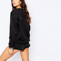 Reclaimed Vintage Oversized Sweatshirt With Tassel Detail at asos.com