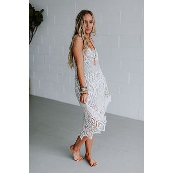 Aviana Crochet Lace Tunic Dress - White