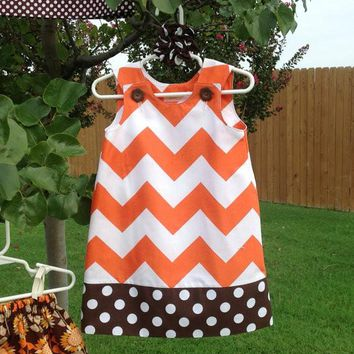 Fall-Autumn Dress, Orange Large Chevron and Brown Dot (baby, toddler, girls, infant, child) jumper for Halloween, Fall, Thanksgiving