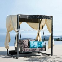 2017 Modern style rattan sunbed outdoor canopy swing bed