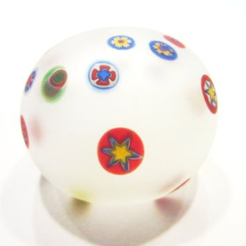Murano Opaline Paperweight Millefiori Glass Cased W Label Made in Italy