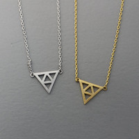 Triforce Necklace, Triple necklace, Triangle necklace, Chevron, Tirade necklace -  Available color as listed ( Gold, Silver )