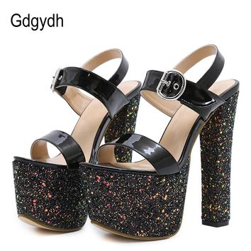 Womens Sexy Bling Sandals Platform Extreme High Heels