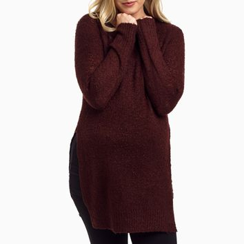 Burgundy-Slit-Side-Knit-Maternity-Sweater