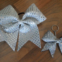 Silver and White Polka Dot Bow and Key Chain Combo