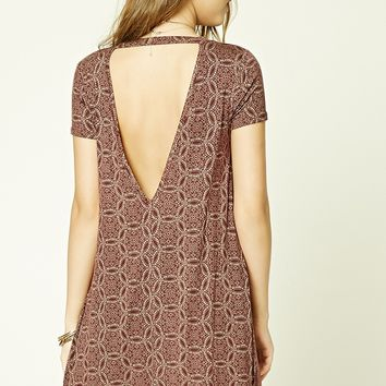 Abstract Cutout-Back Mini Dress