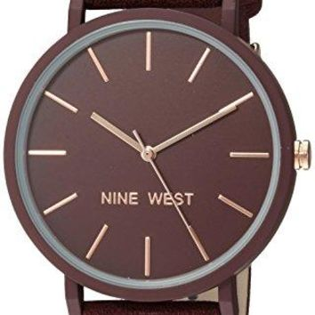 Nine West Women's NW/2066BYRG Burgundy Faux Suede Strap Watch