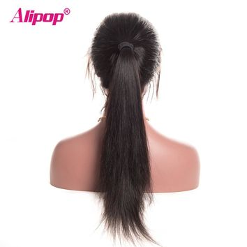 180% Brazilian Straight Wig Full Lace Front Human Hair Wigs ALIPOP Lace Front Wig With Baby Hair Remy Human Hair Wigs Preplucked