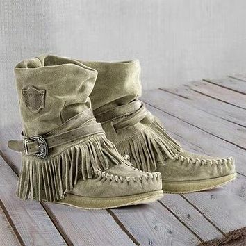 Wide Calf Flat Fringe Suede Moccasin Boots