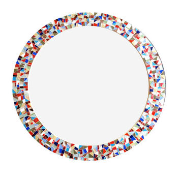 Round Multicolored Mosaic Wall Mirror