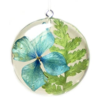 Flower Pendant - Real Flower Jewelry - Blue Jewelry - Blue Flower Pendant - Necklace Charm - Flower Jewelry - Green Pendant