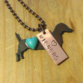 LOVE WIENERS DACHSHUND Necklace made of Rustic Rusty Rusted Recycled Metal