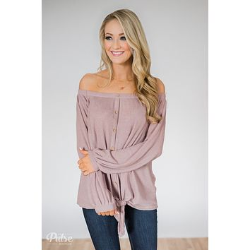 Thermal Off the Shoulder Button Top- Dusty Mauve