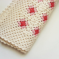 Eco Baby Crocheted Blanket, Pink and Cream Organic Cotton