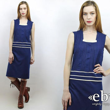 Vintage 70s Navy Mini Dress L XL Navy Dress Knit Dress 70s Dress Striped Dress
