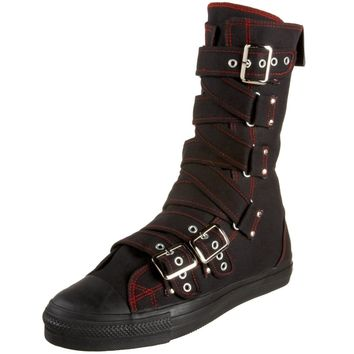 Demonia Cross Strap Sneaker Boots - blk/red :: VampireFreaks Store :: Gothic Clothing, Cyber-goth, punk, metal, alternative, rave, freak fashions