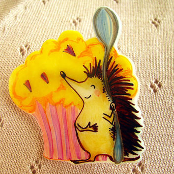 Cupcake Hedgehog Brooch OOAK quirky culinary badge