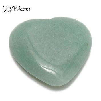 KiWarm Natural Jade Gemstone Heart Shape Green Aventurine Jade Healing Stone Crystal for DIY Pendants Jewelry Making 30-35mm