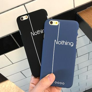 AIBOR Top Quality Plastic Phone Cases for Apple iPhone 8 7 5S SE 6 6S Plus Back Cover with Letters NOTHING Minimalist Printing