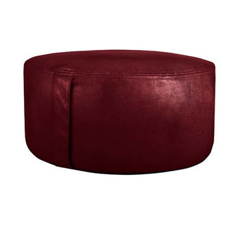 Chic Faux Leather Inflatable Saddle Stitch Indoor Pouf Ottoman Red