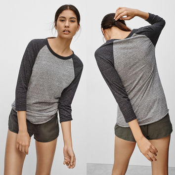 Hot Sale Round-neck Patchwork Three-quarter Sleeve T-shirts [6338696836]