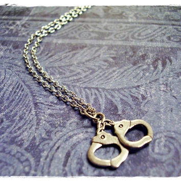 Silver Handcuffs Necklace - Antique Pewter Handcuffs Charm on a Delicate 18 Inch Silver Plated Cable Chain