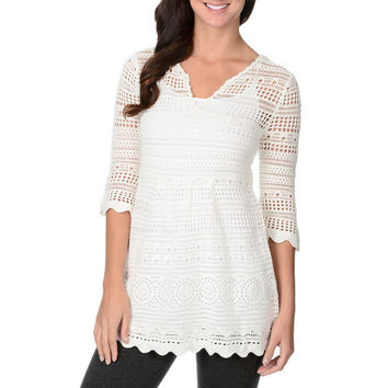 MALLORY Crochet Empire Waist Tunic Top