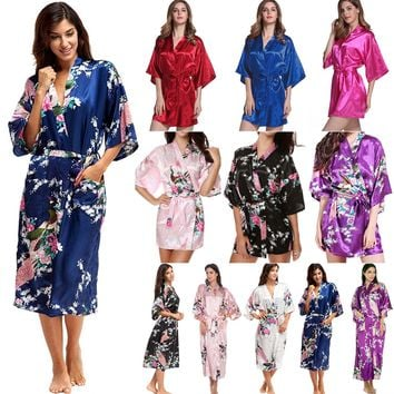 Silk Satin Short/Long Wedding Party Bridesmaid Robe Women Floral Bathrobe Kimono