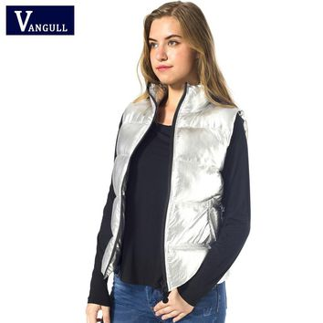 Vangull Autumn Winter Vest Women Waistcoat 2017 Female Sleeveless Jacket warm Silver metal color bread style Vest feminino