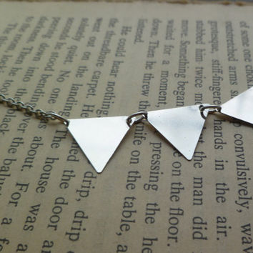bunting necklace in silver mini triangles by littlepancakes