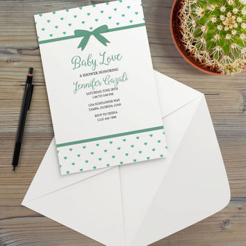 Instant Download - Mint White Hearts Love Ribbon Bow Blue Navy Party Event Celebration Occasion Birthday Baby Shower Invitation Template
