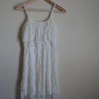 Medium High-Low White Lace Dress
