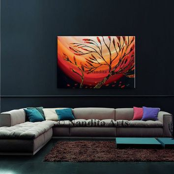 "Red Flower Bud Painting on Canvas, 36"" Wall Art Modern Textured Painting, Impasto Landscape Art Modern Palette Knife Painting(91.44x60.96cm)"