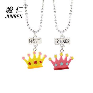 2 pcs/set Lovely star crown Pendant Necklaces For Children Girls Best Friend Friendship Necklace Chain Jewelry