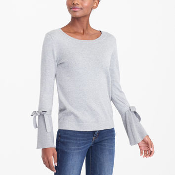Tie bell-sleeve sweater