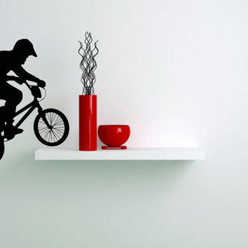 Housewares Wall Vinyl Decal Any Room Bike Sport Jumping Bicycle Cycle Mural Sticker V145