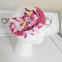 Pink Crochet Headband with Cameo Boutique hair bow fits adults and children