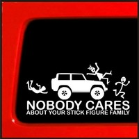 Stick Figure Family sticker for Jeep Family Nobody Cares funny truck white decal bumper sticker