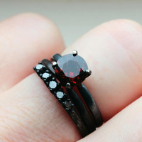 2 Plus CTW Garnet and Black Diamond Wedding by TheFlyingFoxArts