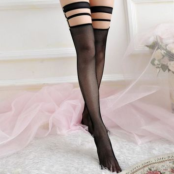 Fashion Lady Women Sexy Trendy Long Thigh High Silk Stocking Bow Lace Top