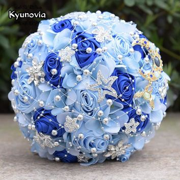 Kyunovia Fantasy Rose Wedding Bouquet Moon and Star Brooch Bouquet Satin Bride's Bouquet Burgundy Bridal Bouquet with Beads FE43